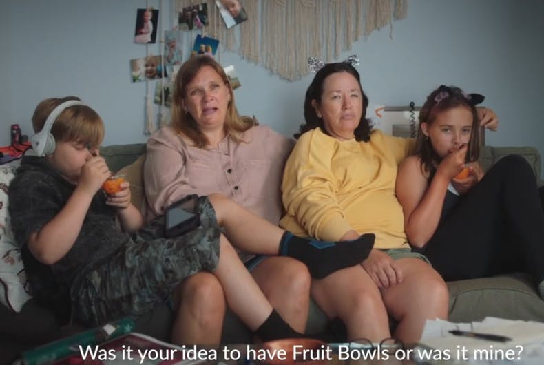 Two moms, just talking about fruit bowls