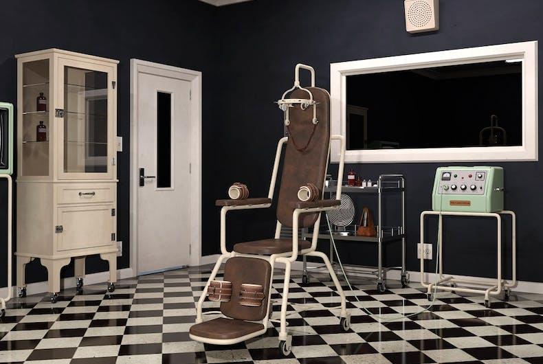 Rendering of psychiatric room, including an electroshock chair