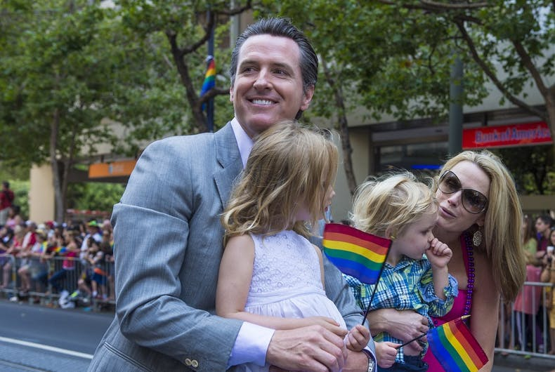 Then Lt. Gov. Gavin Newsom and his family at San Francisco Pride in 2013