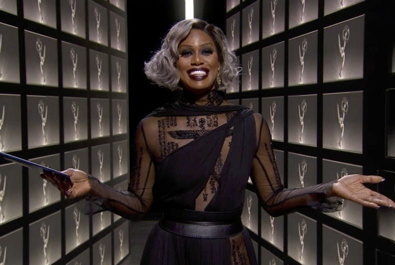 Laverne Cox presents at the 2020 Emmys
