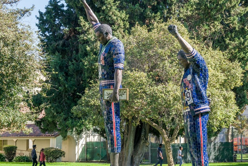 Tommie Smith and John Carlos statue on the campus of San Jose State University.