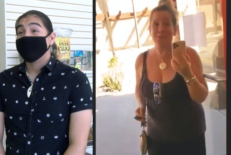 Aidan Bearpaw (left) filmed his viral confrontation with the