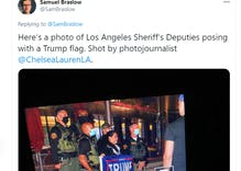 "Sheriff deputies pose with Trump flags at tiny ""Gays for Trump"" Hollywood ""takeover"""