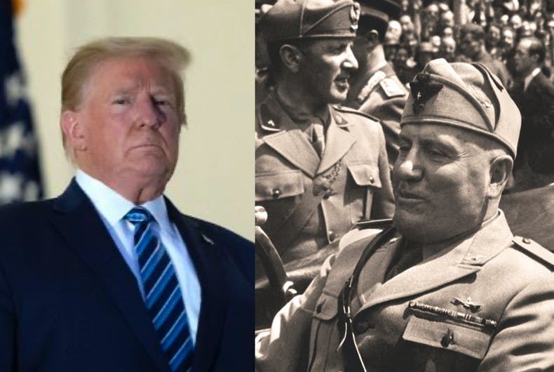 Donald Trump (left) and Benito Mussolini (right)