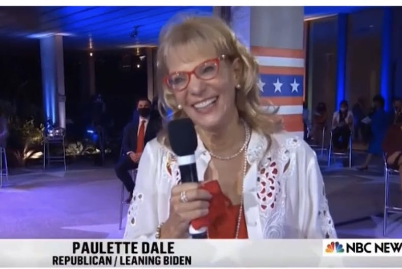 Paulette Dale, retired educator and writer, asking a question of President Donald Trump at his Presidential Town Hall, October 15, 2020