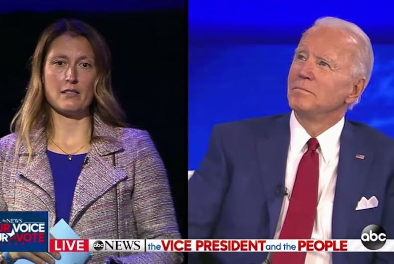 Joe Biden and Mieke Haeck, mother of a trans daughter, at ABC Town Hall
