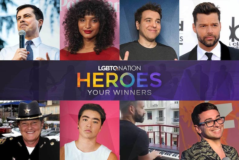 The winners of LGBTQ Nation's Heroes of the Year awards