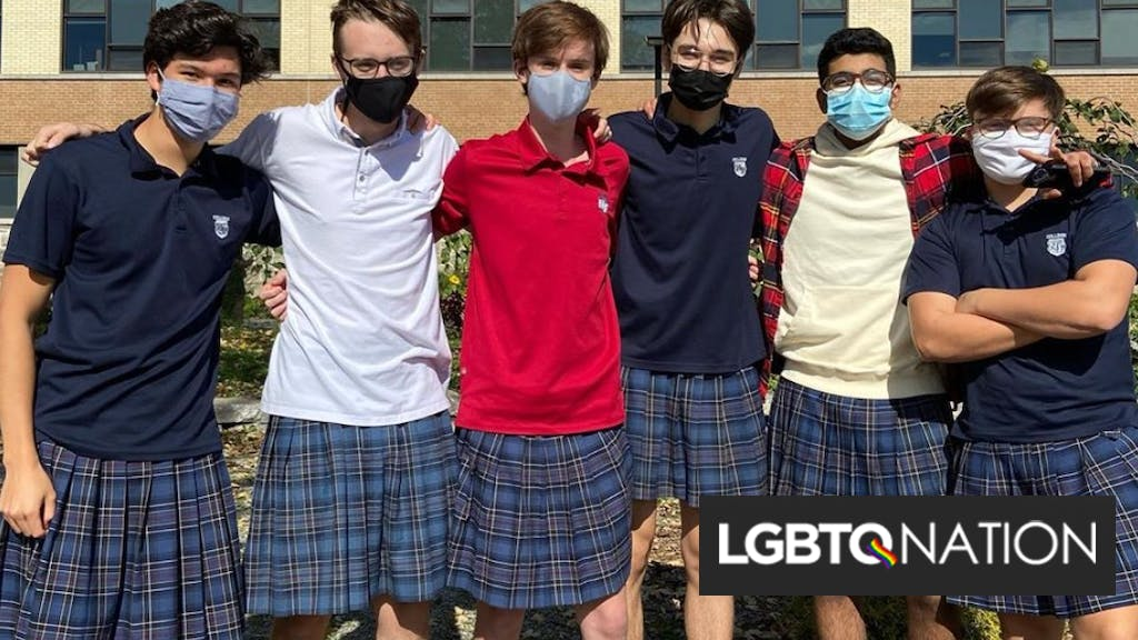 100 boys shocked administrators when they all wore skirts to school
