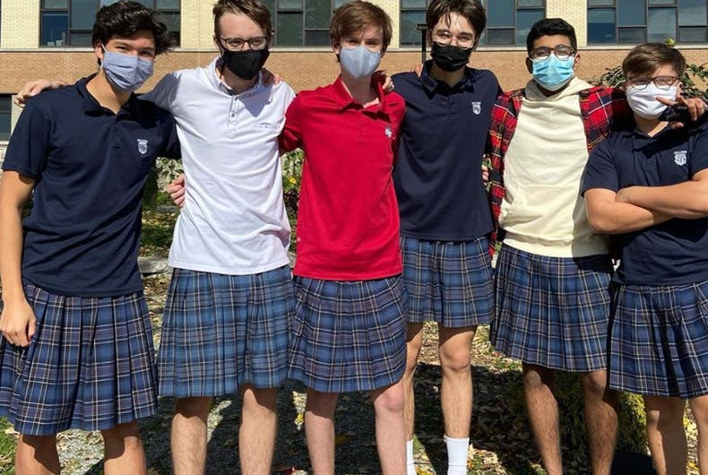 Boys at Collège Nouvelles Frontières wore skirts to school in protest of a sexist dress code.