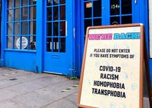 "Restaurant bans entry to people with symptoms of ""COVID-19, racism, homophobia & transphobia"""