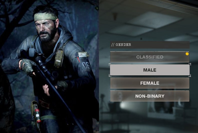 The gender selection screen in the newest